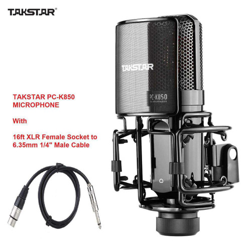 TAKSTAR PC-K850 Microphone W/ XLR Cable for Live Streaming and Professional Studio Sound