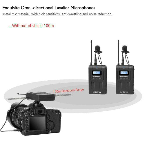 BOYA BY-WM8 Pro-K2 UHF Dual-Channel Wireless Microphone System Receiver Transmitter A Transmitter B with LCD