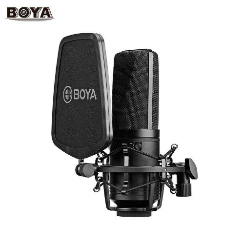 BOYA BY-M1000 Professional Large Diaphragm Condenser Microphone Podcast Mic Kit Support