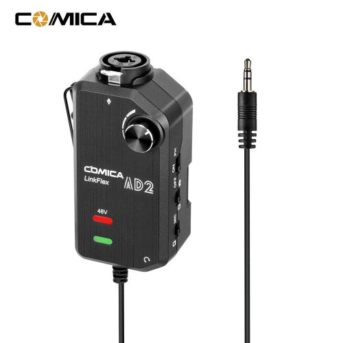 CoMica LinkFlex AD2 XLR /6.35mm-3.5mm Microphone Preamp Amplifier Audio Adapter Universal for Camera