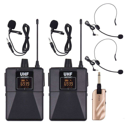 UHF Dual-Frequency Wireless Microphones Set with 1 Receiver 2 Transmitter
