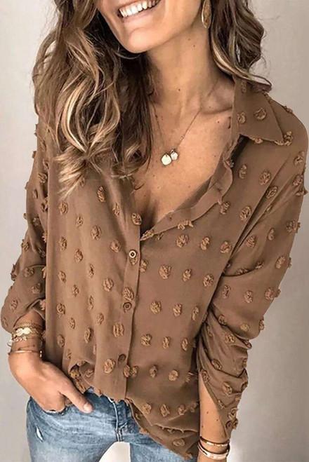 Brown Long Sleeve Button Fuzzy Polka Dot Shirt