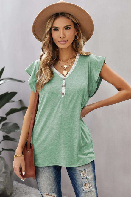 Green V Neck Buttoned Lace Trim Short Sleeve Tee