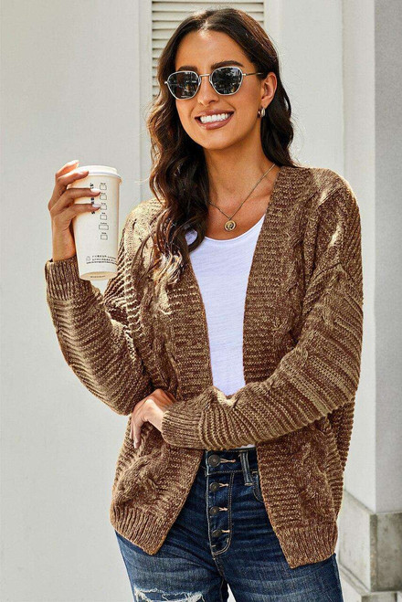 Brown Chunky Wide Long Sleeve Knit Cardigan