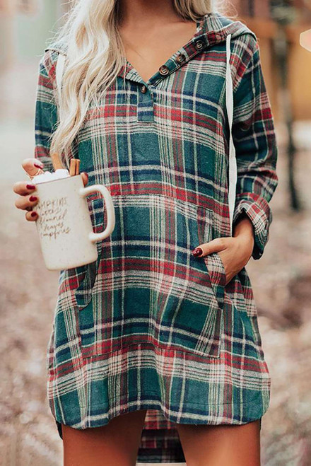 Green Hooded Button Placket Plaid Mini Dress with High/Low Hem