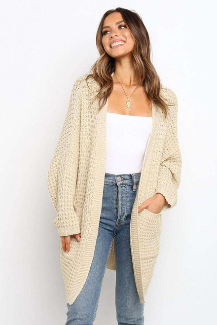 Beige Long Line Open Front Knitted Cardigan with Pockets