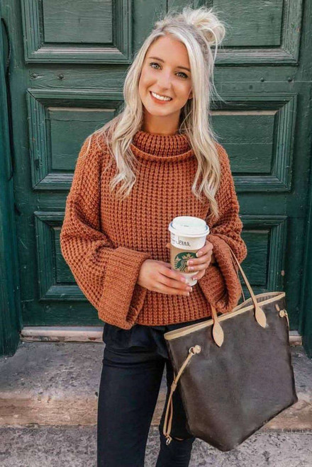 Orange Turtleneck Knitted Sweater