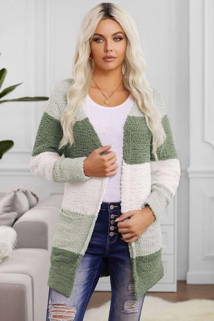 Green Colorblock Popcorn Knit Cardigan