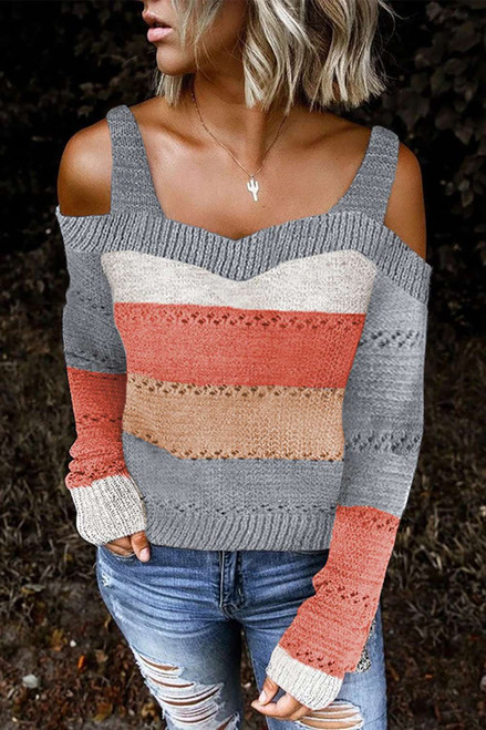 Gray Trim Colorblock Stripes Cold Shoulder Hollow-out Sweater