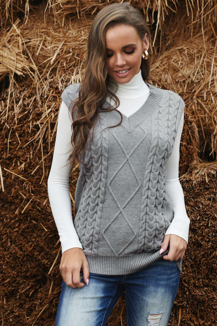Gray Sleeveless Cable Knitted Sweater Tank