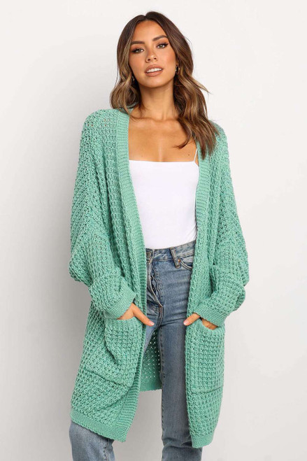 Green Long Line Open Front Knitted Cardigan with Pockets