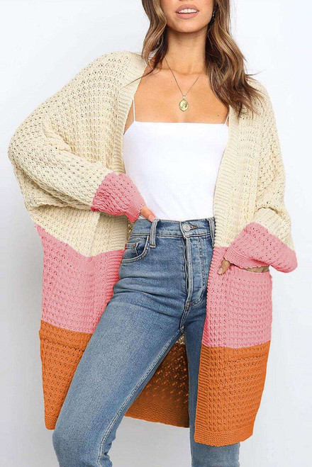 Pink Accent Long Line Open Front Knitted Cardigan with Pockets