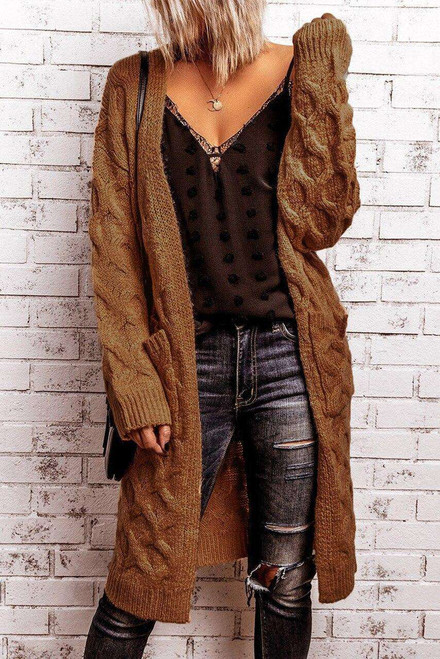 Brown Textured Cable Knit Cardigan