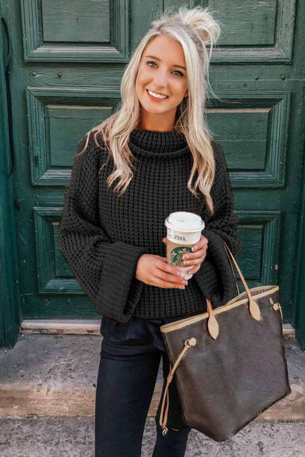 Black Turtleneck Knitted Sweater