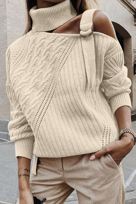 Apricot Strapped Cut out Shoulder Turtleneck Sweater