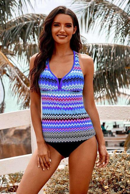 Purple Wave Stripe Racerback Tankini Swimsuit