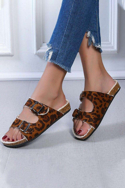 Leopard D-ring Buckled Plush Slippers