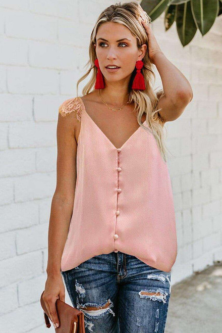Pink Adjustable Lace Straps Buttons Tank Top