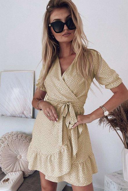 Apricot Bohemian Dotted Print Wrap V Neck Ruffled Mini Dress