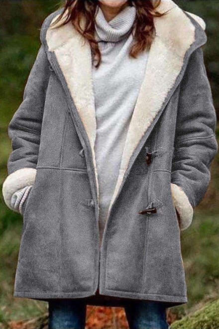 Gray Long Sleeve Hooded Buttons Pockets Duffle Coat