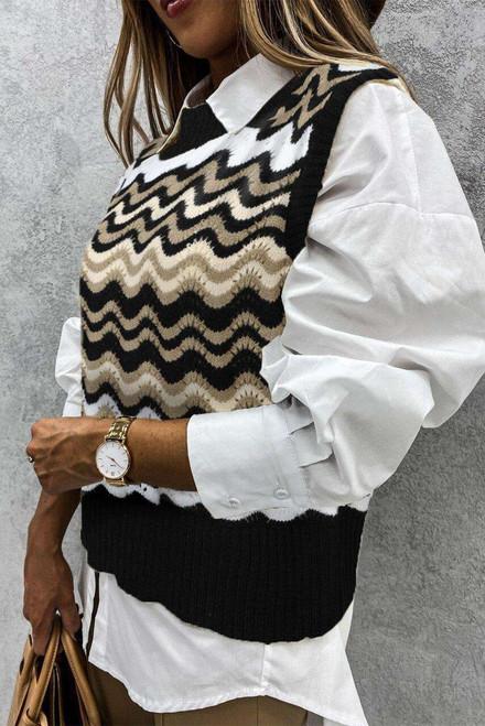 Black Wavy Stripes Knit Vest Pullover Sweater
