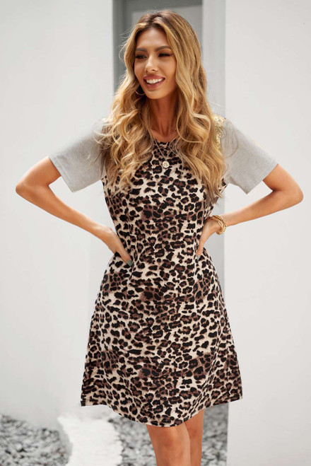 Leopard Sequined Splicing Mini Dress