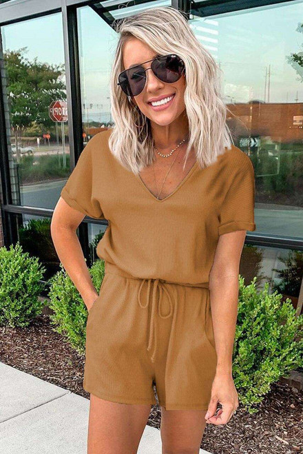 Brown Pocketed Knit Romper