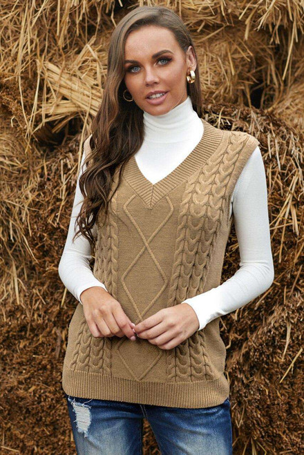 Khaki Sleeveless Cable Knitted Sweater Tank