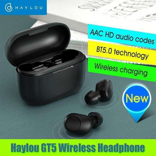 Haylou GT5 True Wireless Earbuds BT 5.0 Headphones with Touch Control Dual Hosts Voice Assistance Supports Wireless Charging TWS Headsets with In-ear Detection Battery Indicator for Gaming Sports Gym