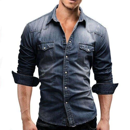 Denim Shirt For Men Long Sleeve Soft Cotton Slim Fit Shirts Male Elastic Jeans Cowboy Shirt