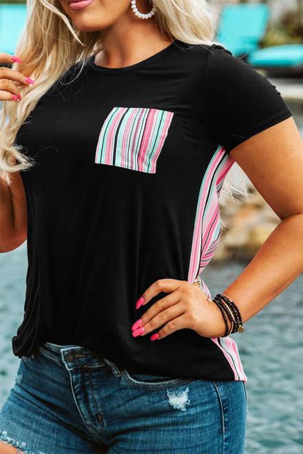 Black Colorful Serape Striped Splicing T-shirt