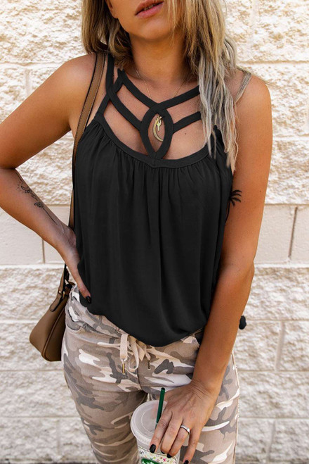 Black Hollow-out Tank Top