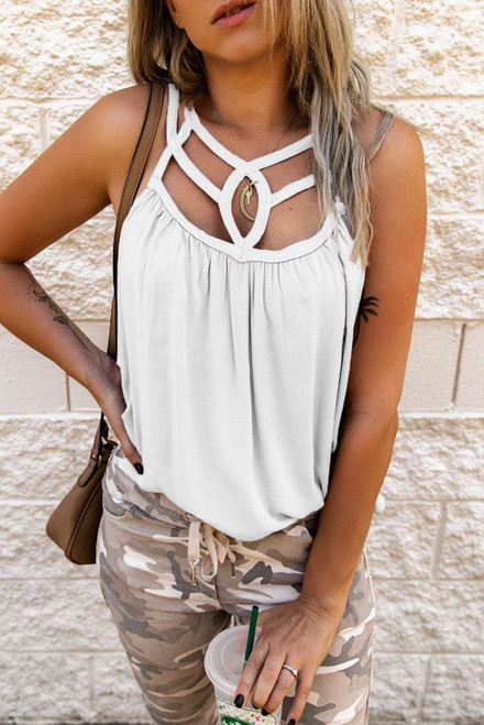 White Hollow-out Tank Top