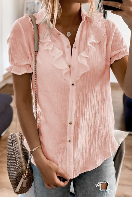 Pink Buttoned Short Sleeves Shirt with Ruffles