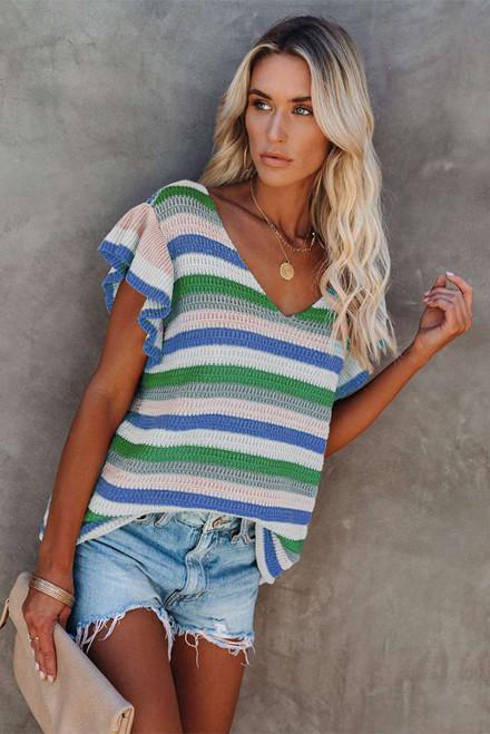Blue Striped Ruffle Short Sleeve Knit Top