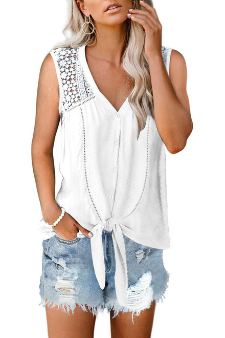 White Lace Tie Front Button Tank Top