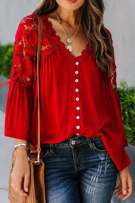 Red Crochet Lace Button Top