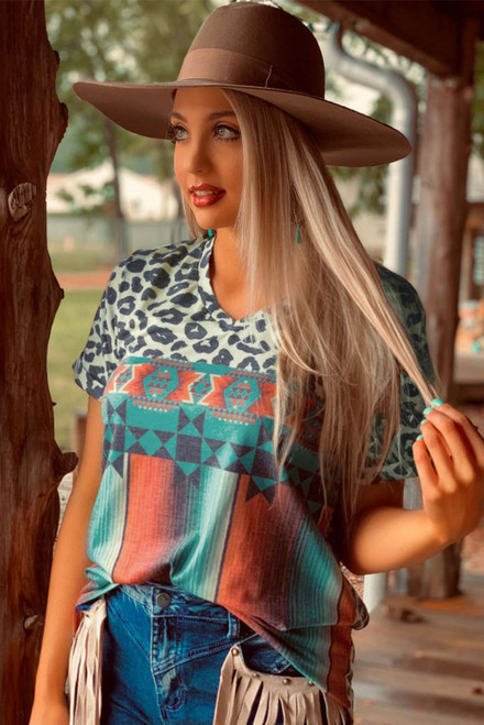 Leopard Serape Print V Neck T-shirt