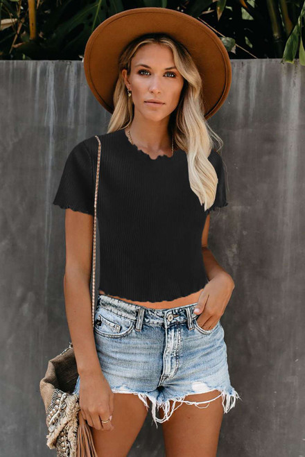 Black Curled Hem Short Sleeve Ribbed Knit Crop Top