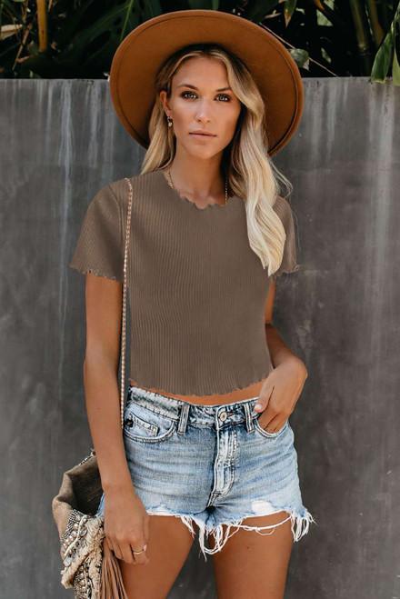 Khaki Curled Hem Short Sleeve Ribbed Knit Crop Top