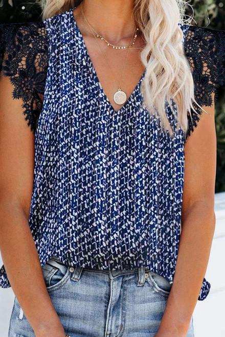 Blue Print Lace Shoulder Tank Top