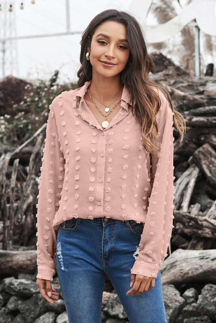 Khaki Long Sleeve Button Fuzzy Polka Dot Shirt