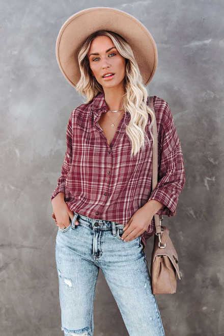 Red Relaxed Fit Plaid Button Shirt