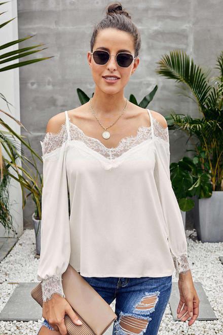 White Lace Cold Shoulder Blouse