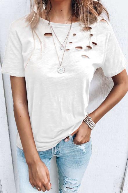 White Holes Crew Neck Cotton Mixed T-shirt