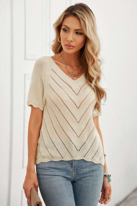 V Neck Eyelet Knitted Top with Scalloped Trims