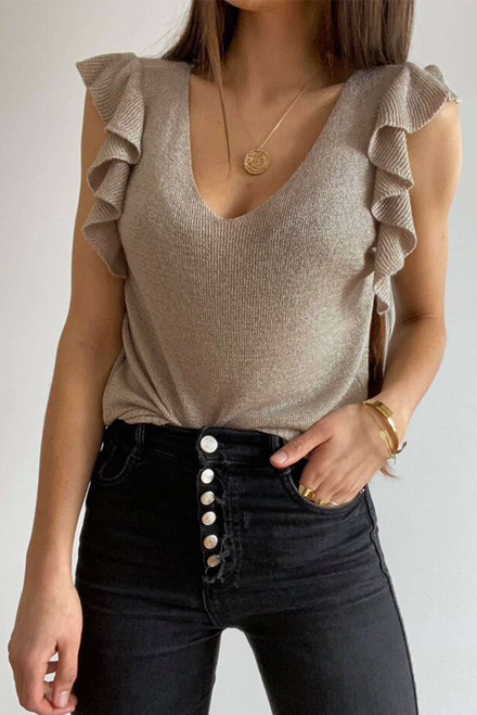 Khaki Cascading Ruffles Knit Tank Top