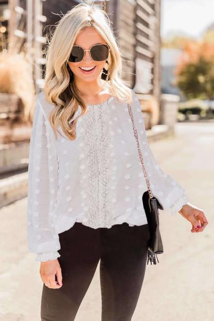 White Polka Dot Lace Lantern Sleeve Blouse