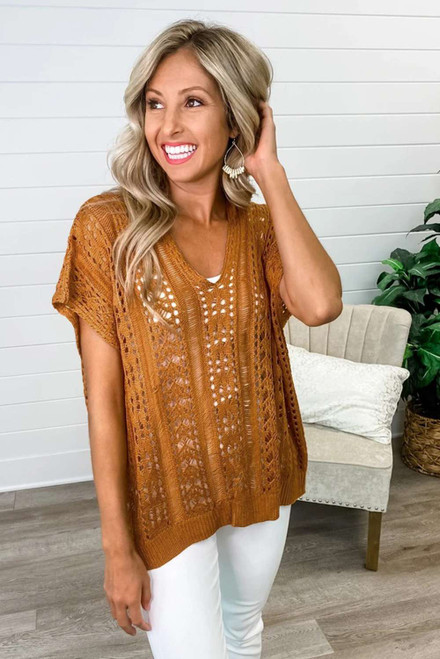 Hollow-out Knit Top