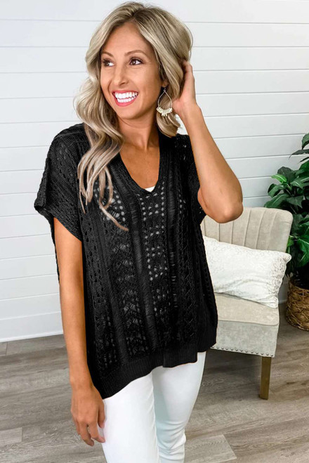 Black Hollow-out Knit Top